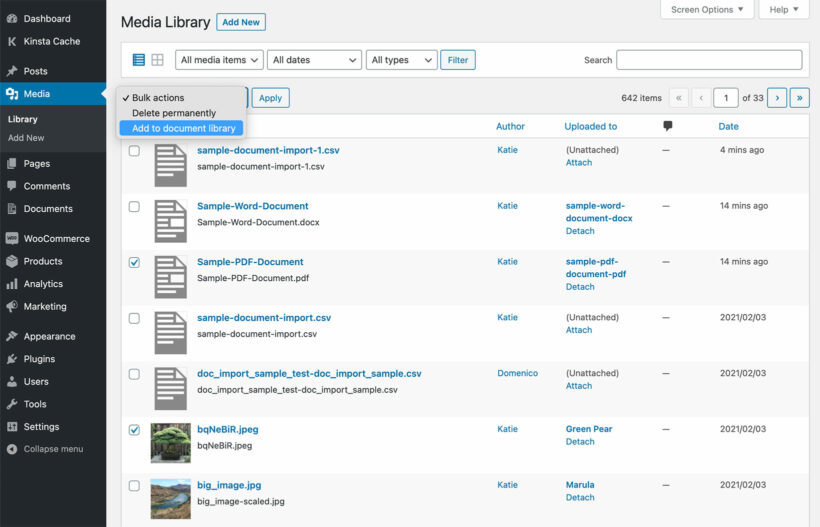 Convert WordPress Media Library File to Document Library