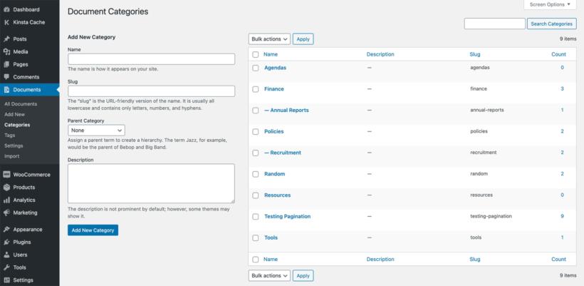 WordPress document library categories