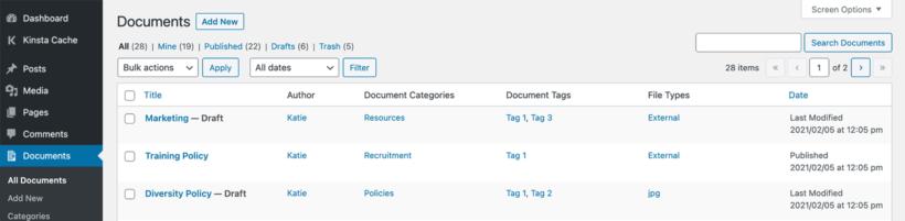 Manage WordPress document library