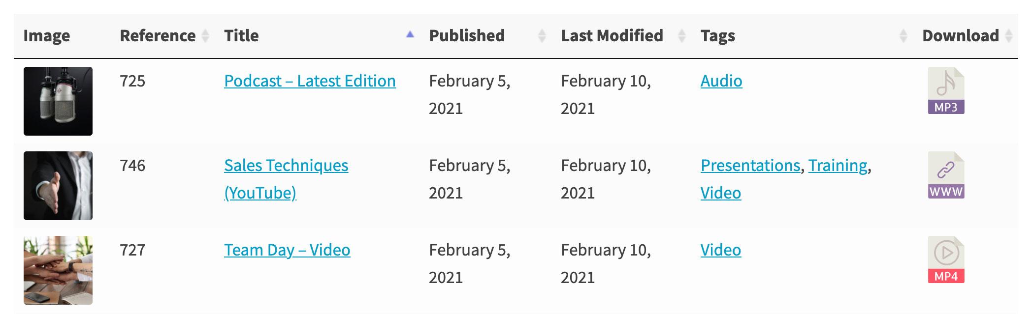WordPress document library column options