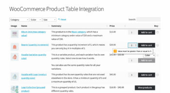 WooCommerce Product Table quantity error message