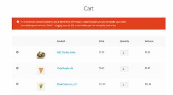 WooCommerce cart page quantity error