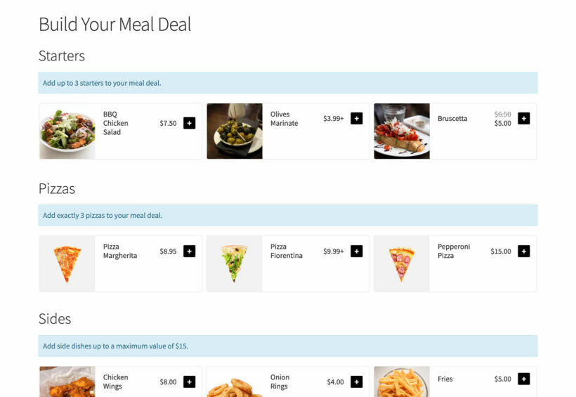 WooCommerce meal deal with quantity rules