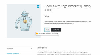 WooCommerce product page quantity error